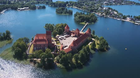középkori : Lithuania. Trakai. Beautiful castle on the lakes. Aerial view of Trakai castle in summer season.