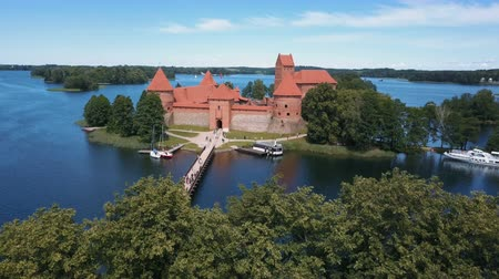 litvanya : Aerial drone shot of Trakai castle in Lithuania. Flight over trees. Beautiful castle on the lakes. Aerial view of Trakai castle in summer season. Stok Video