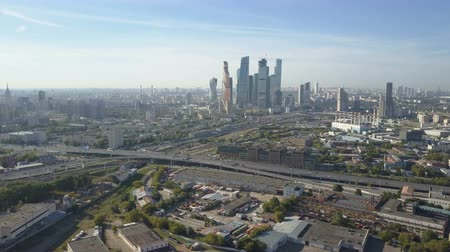 cars traffic : Moscow City skyscrapers, aerial view. Office business center of moscow city. Towers of Moscow City. Stock Footage