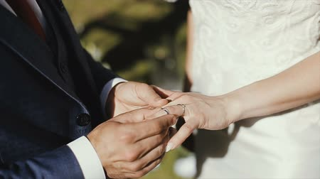 engaged : The groom puts the wedding ring on finger of the bride. marriage. hands with rings. The bride and groom exchange wedding rings.
