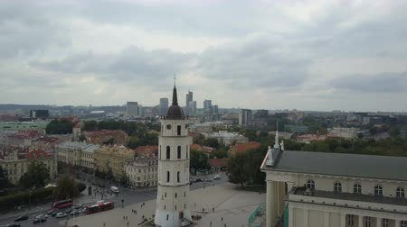 AERIAL view of Bell tower in Vilnius, Lithuania. Flight around Varpines bokstas. Dostupné videozáznamy