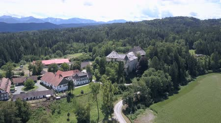 AERIAL view of medieval castle, Carinthia, Austria. Mountains on horizon. Dostupné videozáznamy
