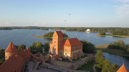 umutlu : Aerial view of Trakai. Hot air balloons flying over beautiful lakes and islands in Lithuania near the Trakai castle in summer.