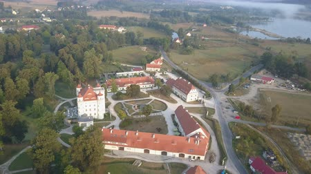зелень : Aerial view of medieval Palace in Western Europe, Wojanow, Poland