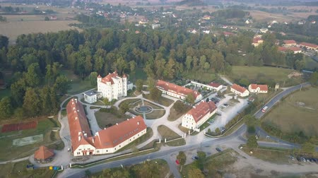 uliczka : Aerial view of medieval Palace in Western Europe, Wojanow, Poland