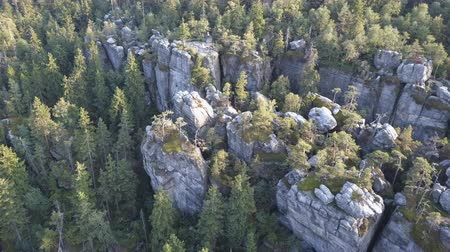 boulders : Amazing rock formation on Szczeliniec Wielki in Table Mountains National Park. Tourist attraction of Polish Sudetes