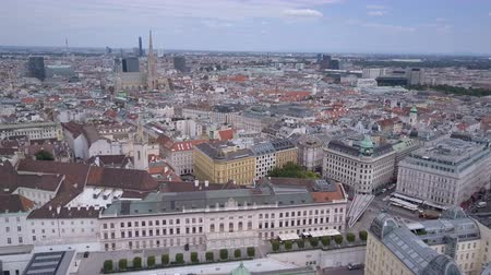 visto : vienna city skyline aerial shot. AERIAL view of Vienna. Cathedrals and cityscape City of Vienna, Austria Stock Footage