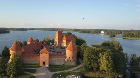 freedom tower : Aerial view of Trakai. Hot air balloons flying over beautiful lakes and islands in Lithuania near the Trakai castle in summer.