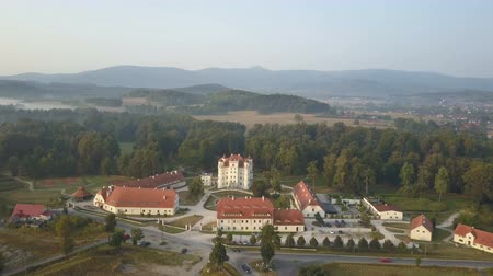 mediaeval : Aerial view of medieval Palace in Western Europe, Wojanow, Poland