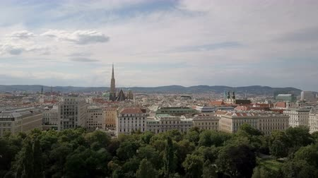 vienna city skyline aerial shot. AERIAL view of Vienna. Cathedrals and cityscape City of Vienna, Austria Dostupné videozáznamy