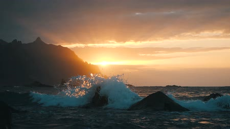 cape town : Ocean waves crash on rocks and spray in beautiful sunset light at Benijo beach in Tenerife, Canary Islands