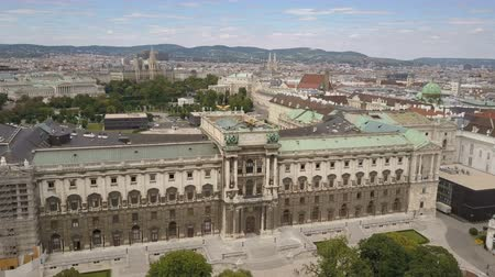 austrian : vienna city skyline aerial shot. AERIAL view of Vienna. Cathedrals and cityscape City of Vienna, Austria Stock Footage