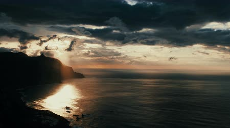 romantyczny : Time lapse shot of dramatic sunset. Benijo beach in Tenerife - Canary islands. Wideo