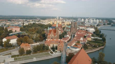 wrocław : Aerial view of Cathedral Island in Wroclaw, Poland