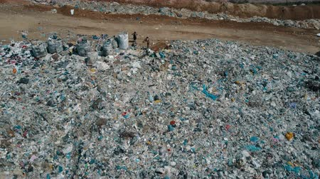Aerial view of City garbage Dump. Gulls Feeding on Food Waste Fly Over It. Dostupné videozáznamy
