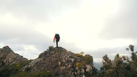 альпинист : Young woman with backpack climbs a sharp ridge and reaches the top of a mountain. Lady on the top of a mountain among tropical plants in beautiful scenery on Canary Islands Стоковые видеозаписи
