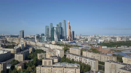 Moscow City skyscrapers, aerial view. Office business center of moscow city. Towers of Moscow City. Dostupné videozáznamy