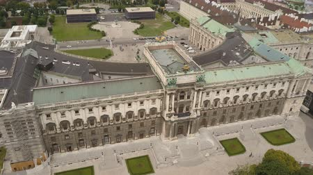hofburg : vienna city skyline aerial shot. AERIAL view of Vienna. Heldenplatz, Hofburg Imperial Palace and cityscape City of Vienna, Austria