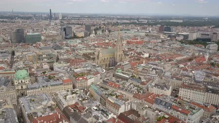 rathaus : vienna city skyline aerial shot. AERIAL view of Vienna. Cathedrals and cityscape City of Vienna, Austria Stock Footage