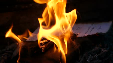 pergament : Manuscript pages are burning in fire. Bonfire of Burning Manuscript Stock mozgókép