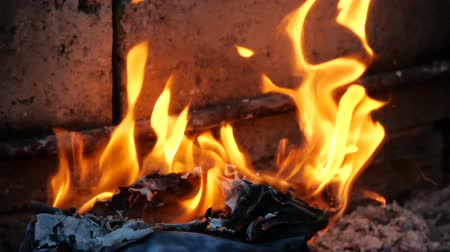 pergament : Book pages are burning in fire. Bonfire of Burning Books