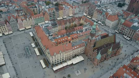 elisabeth : Aerial view of Wroclaw city. Beautiful, old town. Crowded Market square of a big, Polish city.
