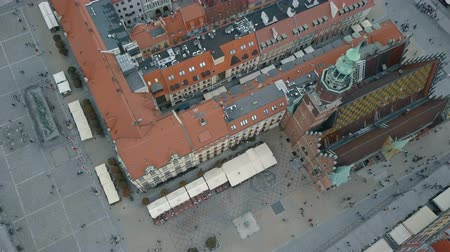 wrocław : Aerial view of Wroclaw city. Beautiful, old town. Crowded Market square of a big, Polish city.