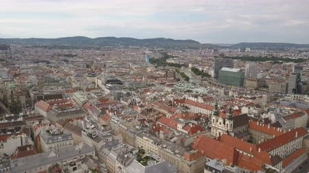 rathaus : AERIAL view of Vienna. Cathedrals and cityscape City of Vienna, Austria. vienna city skyline aerial shot.