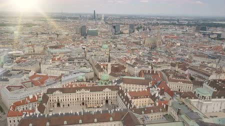 visto : Vienna city skyline aerial shot. AERIAL view of Vienna. St. Stephens Cathedral and cityscape City of Vienna, Austria