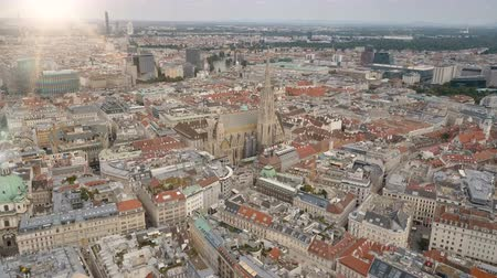 rathaus : Vienna city skyline aerial shot. AERIAL view of Vienna. St. Stephens Cathedral and cityscape City of Vienna, Austria