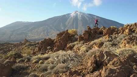 erupção : Young Woman arms outstretched observes a huge crater of Teide volcano, Tenerife, Canary islands, Spain. Aerial drone view of a volcanic desert. Vídeos