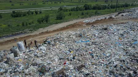 Aerial view of City garbage Dump. Gulls Feeding on Food Waste. Large garbage pile at sorting site. Dostupné videozáznamy