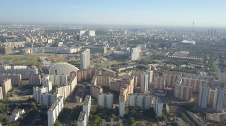 Moscow City aerial view. Drone shot of residential quarters of moscow city. Sunny day moscow cityscape.