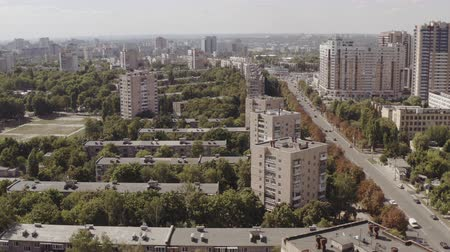 Big City aerial view. Drone shot of residential quarters of Kharkov city on Sunny summer day.