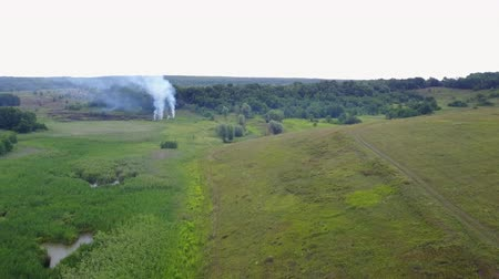 bush fire : Aerial footage from drone of burning green field, wild fire in nature landscape, Flight through a smoke