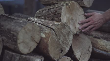 годовой : Mans hand touches the oak firewood blocks stored up for winter. Mans hand feels the wood structure of oak firewood blocks in a stack. Стоковые видеозаписи