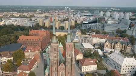 riverbank : Aerial View of Wroclaw, Ostrow Tumski, Cathedral of St. John the Baptist, Katedra Swietego Jana Chrzciciela, Old Town, Stare Miasto, Poland, Polska Stock Footage