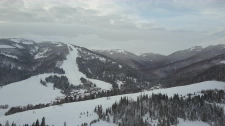 baita : Flight over a village in Carpathian mountains and a ski resort next to it. Birds eye view of snow-covered houses in mountains. Rural landscape in winter. Carpathian village in the snow from a height. Filmati Stock