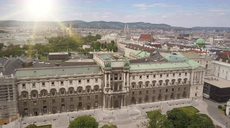 hofburg : Aerial view of Vienna. Neue Burg is part of the Vienna Hofburg and the monumental Kaiserforum. Vienna city skyline aerial shot. Cathedrals and cityscape City of Vienna, Austria