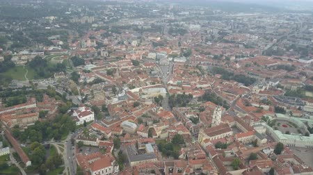 homlokzatok : Beautiful Aerial view of the old town of Vilnius, the capital of Lithuania. Flight over ancient centre of european city.