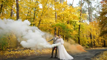 núpcias : Slow motion. Young attractive Bride and Groom hold burning smoke bombs and walk along a road in autumn forest. Happy loving newlyweds among Colored fall trees in a park.