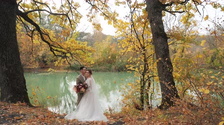 juntar : Wedding in the woods in nature. Groom and bride hugging near a lake in autumn forest among Colored fall trees. Young attractive Happy loving newlyweds in a park in Slow motion.