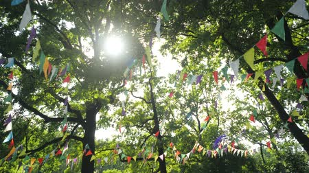 árbocszalag : Festive garland of multi-colored paper flags for the holiday. Scenery for a childrens birthday party. Decoration on nature against the backdrop of trees. Bunting banner - colorful flags From Sheets. Stock mozgókép