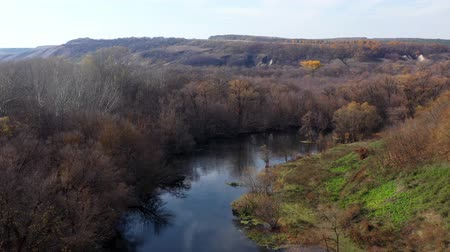 a környezet megőrzése : Flying over the trees and the river on a warm autumn day. The famous Dvurechansky National Park is a national park preserving the chalk steppes. Top view of beautiful nature in sunny weather. Stock mozgókép