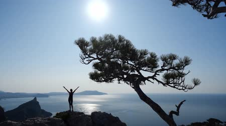 climbed : Young woman tourist observes beautiful view from the top of the mountain, raises his hands up and stretches. Sporty girl climbed to the top of the cliff and admires the view of the sun and sea.