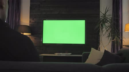 television set : Green Screen - Man watching TV on a couch in the living room. Over the shoulder shoot.