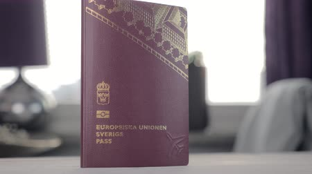 документация : Swedish EU Passport close up spinning