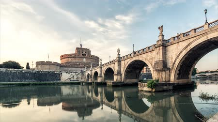 rzym : Rome timelapse sunset. Day to night cityscape Castle and bridge panorama Wideo