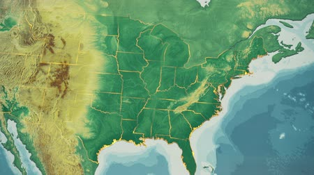 dél amerika : USA Map, South Carolina pull out, all 50 states available. Transition from natural colors to a vintage look. The states' borders glow and flicker. No names or letters, so you can insert own graphics and fonts. For news, documentaries, info, elections, e Stock mozgókép