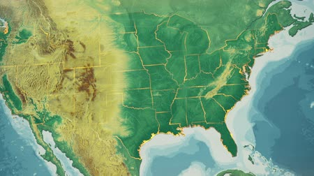 natural world : USA Map, Arkansas pull out, all 50 states available. Transition from natural colors to a vintage look. The states' borders glow and flicker. No names or letters, so you can insert own graphics and fonts. For news, documentaries, info, elections, etc.